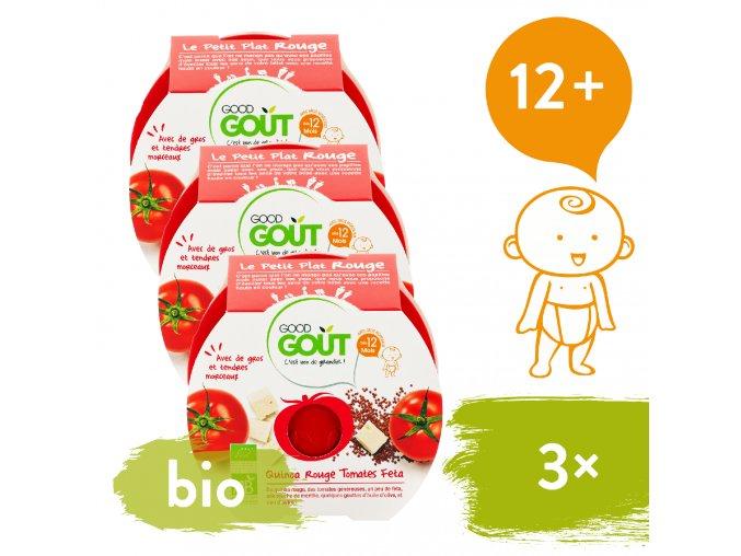 3xGood Gout BIO Rajčátka s červenou quinou a sýrem Feta 220 g 3760269310599