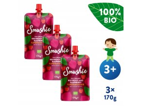 UNI Salvest Smushie BIO Ovocne smoothie s cervenou repou malinami a konopnymi seminky 3x170g 4740073073827