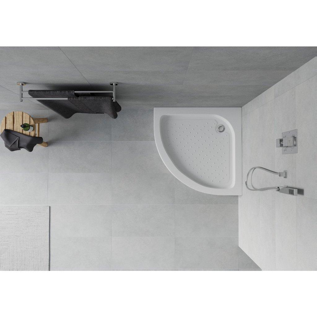 Mexen RIO - Sprchová vanička čtvrtkruhová 70x70x14 cm + sifon, bílá, 47107070