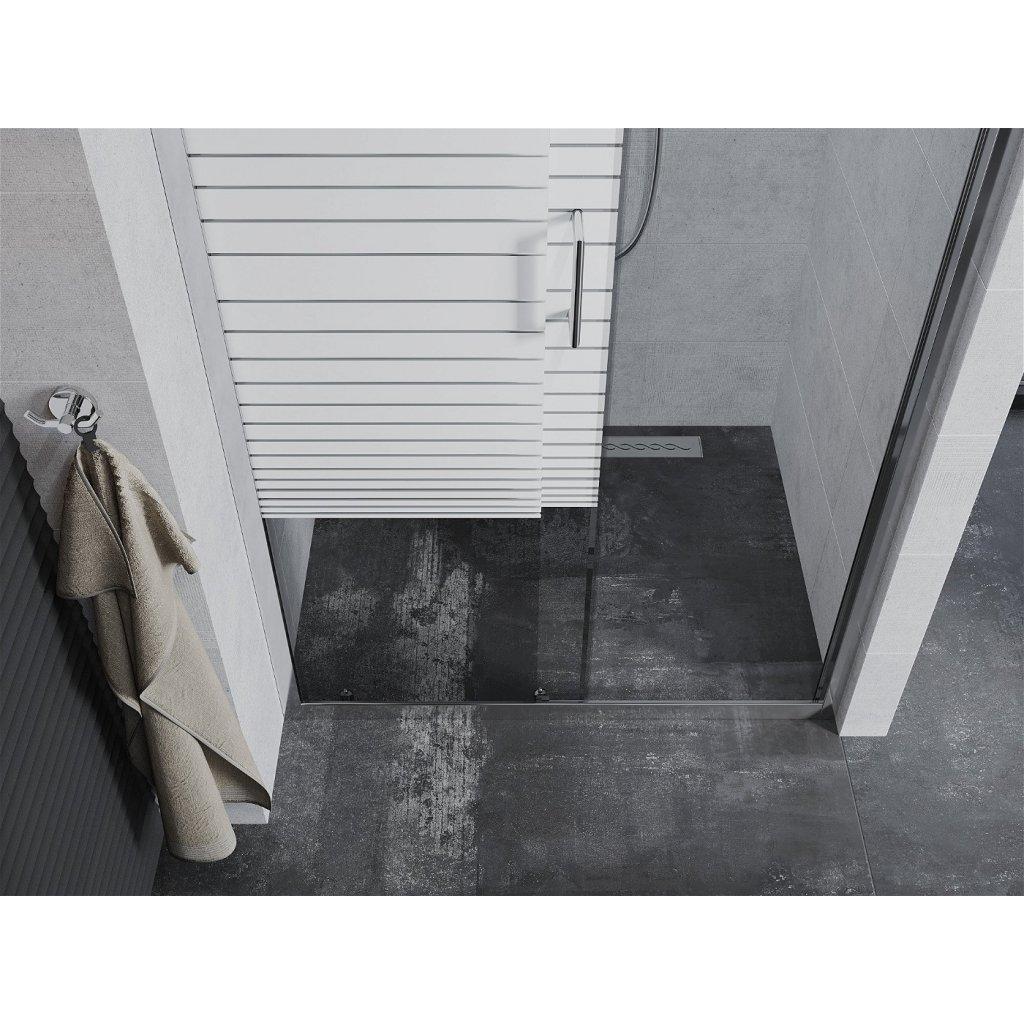 Mexen APIA sprchové posuvné dveře do otvoru 100cm, čiré / pásy, 845-100-000-01-20