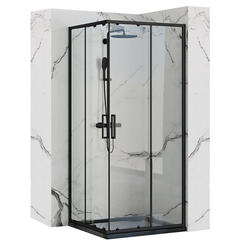 Rea - PUNTO BLACK MAT sprchový kout 80 x 80 cm, čiré sklo / černý profil, REA-K4800