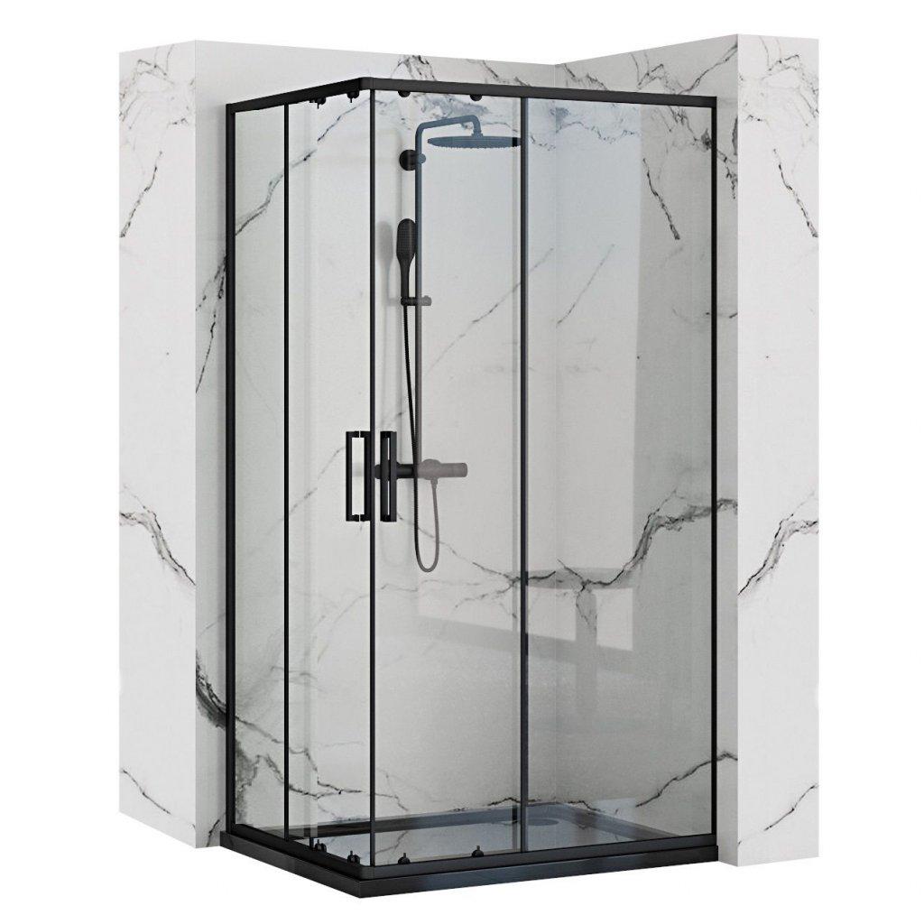 Rea - PUNTO BLACK MAT sprchový kout 80 x 100 cm, čiré sklo / černý profil, REA-K4806