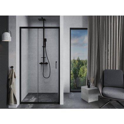 Mexen APIA sprchové posuvné dveře do otvoru 120cm, černá, 845-120-000-70-00