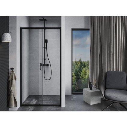 Mexen APIA sprchové posuvné dveře do otvoru 110cm, černá, 845-110-000-70-00