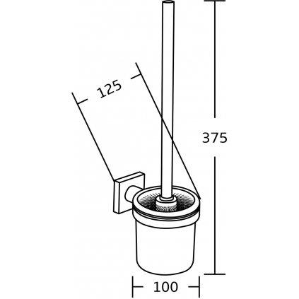 Mexen příslušenství, wc kartáč Rufo, černá, 7050950-70
