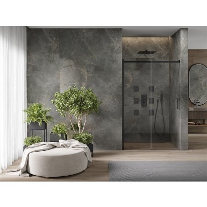 Mexen OMEGA posuvné sprchové dveře do otvoru 150 cm, černá-transparentní, 825-150-000-70-00