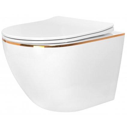 Rea CARLO mini - rimless závěsná WC mísa 49x37 s pomalu-padajícím sedátkem, bílá-zlatý okraj, REA-C1222