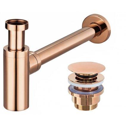 Rea univerzální sifon umyvadlový-polsifón + univerzální výpusť umyvadlová, růžová-zlatá, REA-A8541