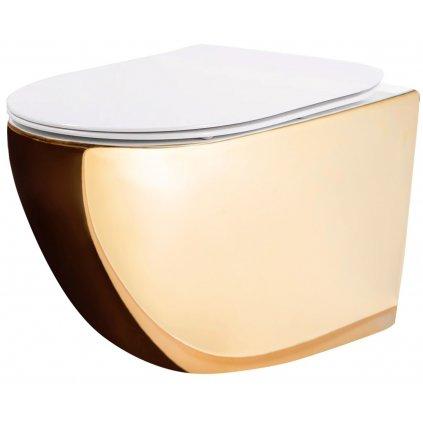 Rea CARLO mini - rimless závěsná WC mísa 49x37 s pomalu-padajícím sedátkem, zlatá-bílá, REA-C0669