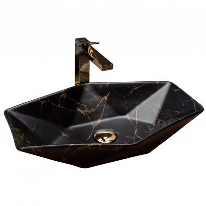 Rea Vegas Marble Black umyvadlo, 57 x 37 cm, černá, REA-U0994