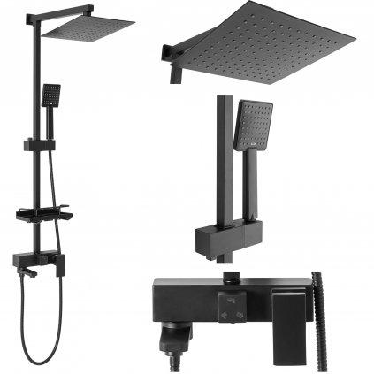 Rea Jack - sprchový set s otočným vanovým výtokem, černá, REA-P7009