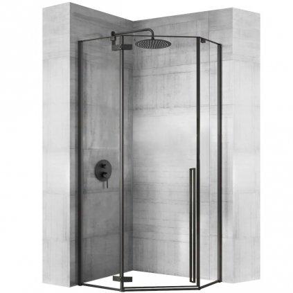 Rea - DIAMOND BLACK pětiúhelníkový sprchový kout 100 x 100 cm, černý matný, čiré sklo, REA-K5623