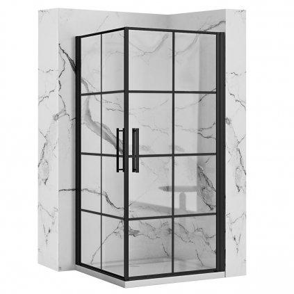 Rea - RUBIK BLACK MAT sprchový kout 80 x 80 cm, čiré sklo / černý profil, REA-K9230