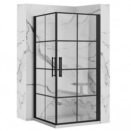 Rea - RUBIK BLACK MAT sprchový kout 90 x 90 cm, čiré sklo / černý profil, REA-K9231