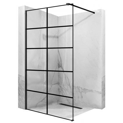 Rea - Bler1 sprchová zástěna 90x195cm, 8mm sklo, čiré sklo / černý profil, REA-K7953