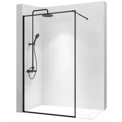 Rea - Blerim sprchová zástěna 90x195cm, 8mm sklo, čiré sklo / černý profil, REA-K7638