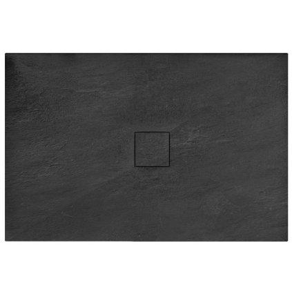 Rea BLACK STONE - Kamenná sprchová vanička 80 x 100 x 3,5 cm + sifon, černá, REA-K9756