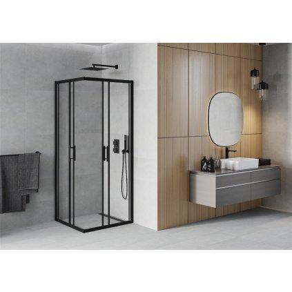 Mexen RIO - Čtvercový sprchový kout 90x90 cm, černá, 860-090-090-70-00