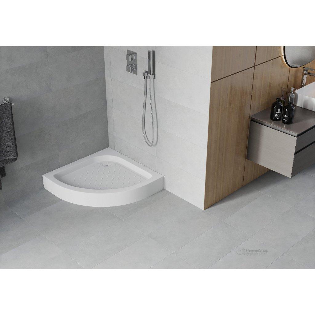 44125 mexen rio sprchova vanicka stvrtkruhova 80x80x14 cm sifon biela 47108080