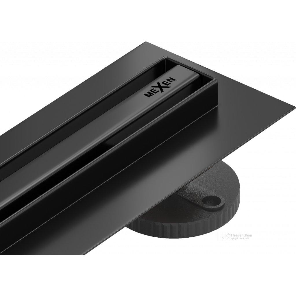 58699 mexen flat nerezovy sprchovy zlab s rotacnym 360 sifonom 110 cm vzor slim cierna 1741110
