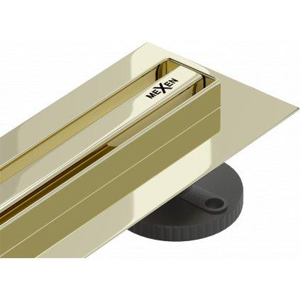 58636 mexen flat nerezovy sprchovy zlab s rotacnym 360 sifonom 110 cm vzor slim zlata 1541110