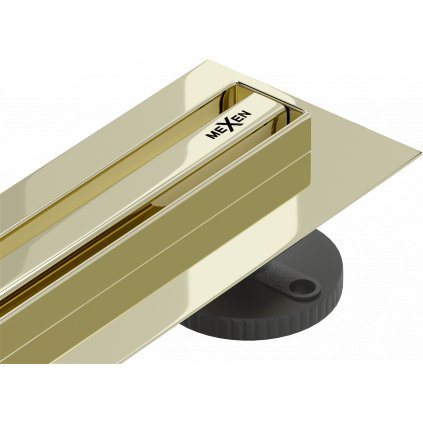 58639 mexen flat nerezovy sprchovy zlab s rotacnym 360 sifonom 120 cm vzor slim zlata 1541120