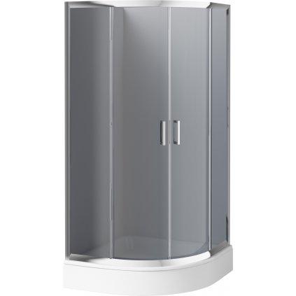 Deante - Štvrťkruhový kút FUNKIA 90x90x185 cm, chrómový profil-sklo šedé, KYP 451K