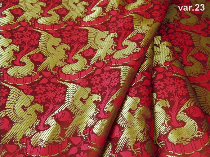 Historical brocade 160 51323 EAGLE AND LEOPARD maroon