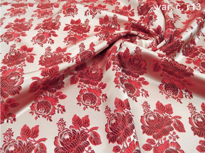 r 6437 r13 ondran krojovy brokat cervena 3