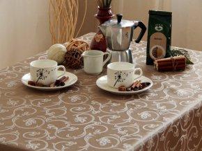 Ubrus Odaska krucánky kávová (Rozměr ubrusu 160x180)