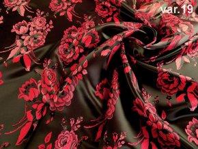 r 6387 19 ondran krojovy brokat kvet cerna cervena 1