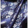 Ondrin 160 krojový brokát KVĚT POMNĚNKY tmavě modrá