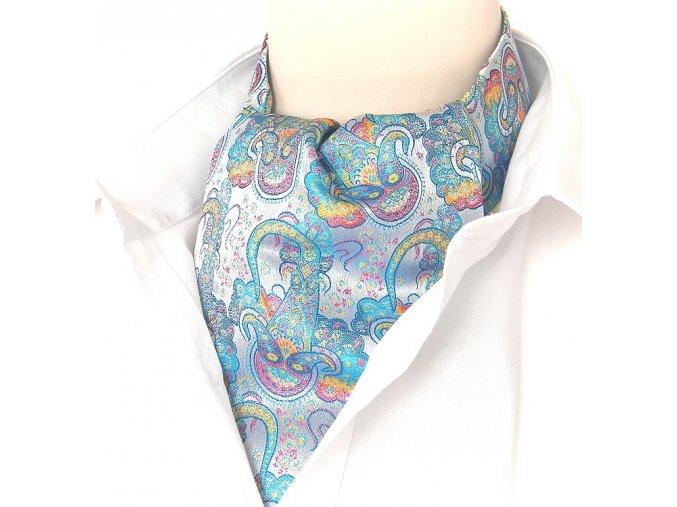 18100285 kravatošála ASKOT hedvabi TUREK TYRKYS RUZOVA ZLUTA