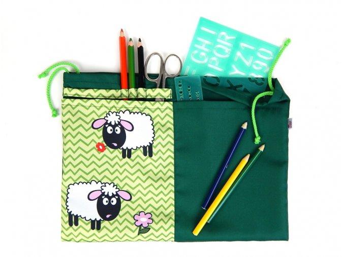 71100388 detsky skolni kapsar na lavici ovecka zelena 1
