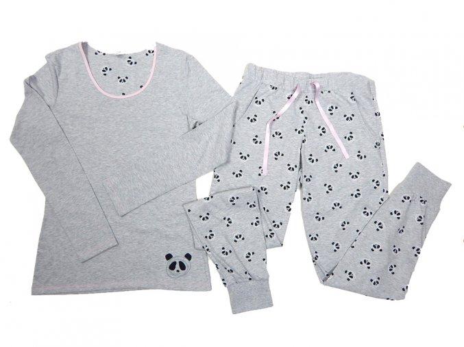 Pyžamo dámské dlouhý rukáv panda šedá