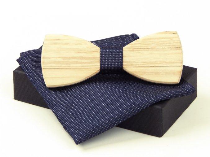 53400849 motylek dreveny s kapesnickem hedvabi krabicka modry