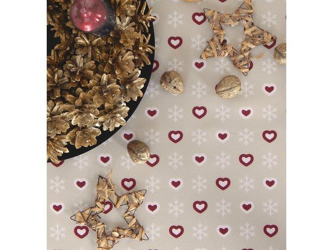 Ubrus Odasan 70x70 TISK srdce/vločka