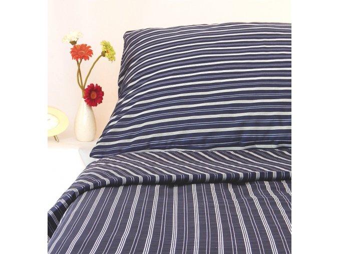 Ložní souprava bavlna 70x90+140x200 PRUH tmavě modrá