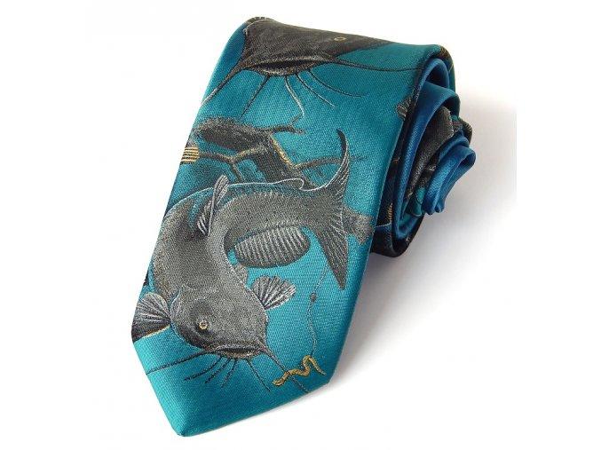 kravata RYBARSKA SUMEC TYRKYS