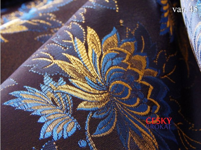 20406 45 brokat krojovy ondres modra zlata 3