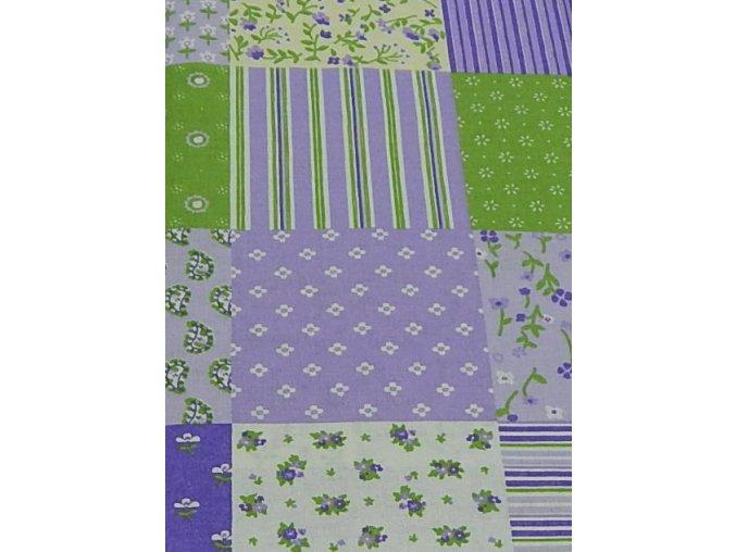 Plátno-tisk, fialová patcwork 100%bavlna, š.140