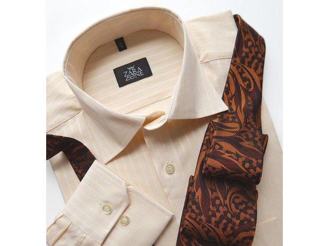 Košile ELEGANT béžová s tkaným proužkem