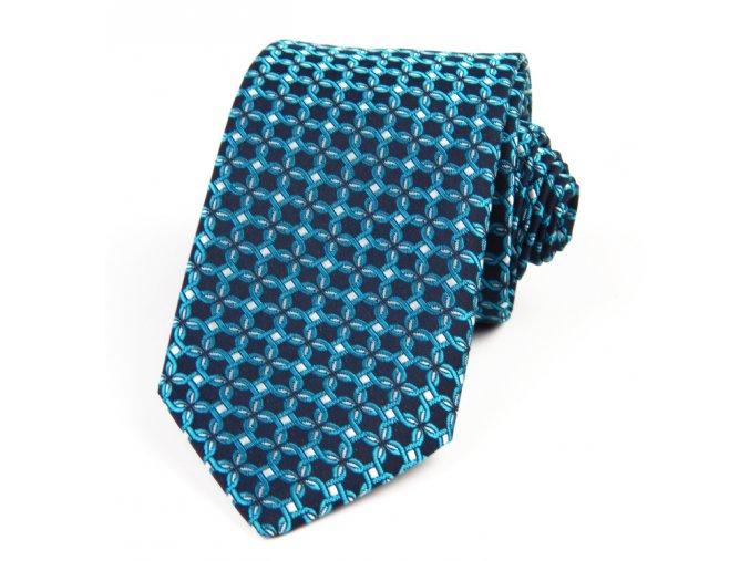 51401472 kravata zakar geometrie modra tyrkys