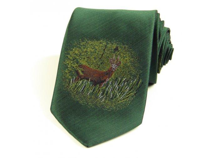 51401516 myslivecka kravata zelena srnec