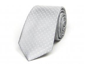 51402077 kravata hedvabi puntik kolecko seda stribrna svatebni