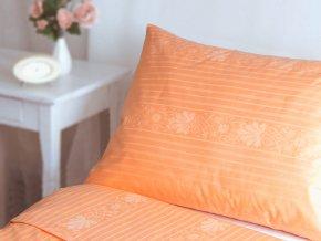 21400065 R5941 lozni povleceni bavlna damasek prouzek floral oranzova