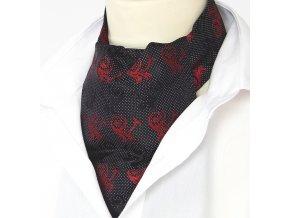 Z00969 kravatosala ASKOT hedvabi cerna cervena floralni
