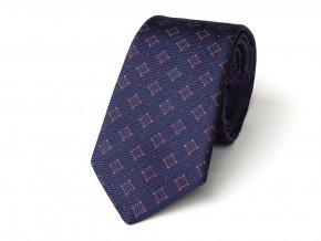 51402035 kravata hedvabi ctverecek modra