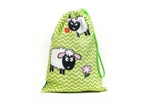 71100390 detsky pytlik na papuce ovecka zelena 1