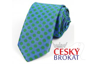 51401097 kravata polyester PUNTIK MODRA zelena